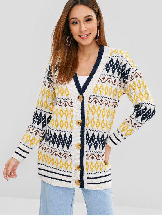 women Button Up Geometric V Neck Cardigan - MULTI ONE SIZE