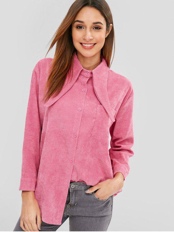 Fronttasche Cord-Shirt - Helles Rosa Eine Größe