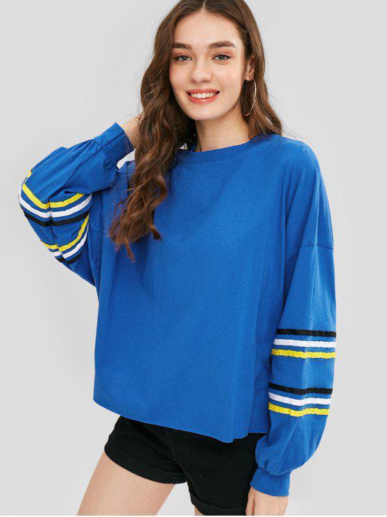 Gestreiftes Sweatshirt mit übergroßem Ausschnitt - Ozeanblau Eine Größe