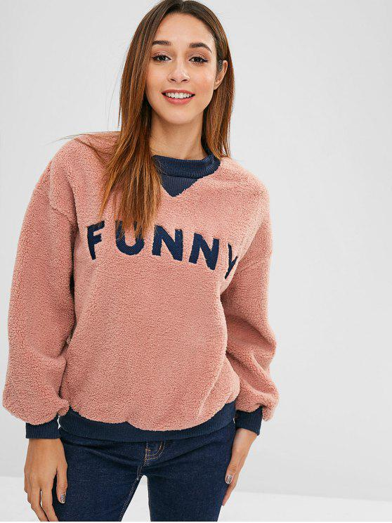 trendy Fluffy Embroidered Faux Shearling Teddy Sweatshirt - KHAKI ROSE M