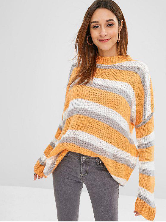 Drop Schulter übergroße Color Block Sweater - Sandiges Braun Eine Größe