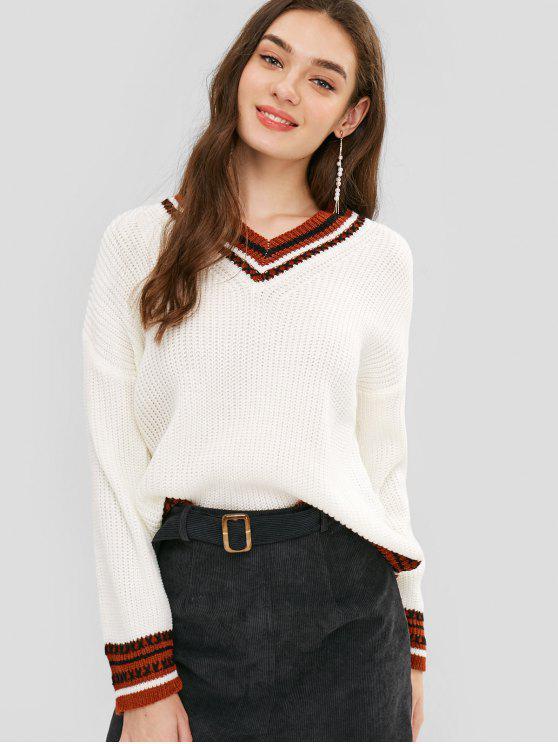V-Ausschnitt Gestreifte Chunky Knit Sweater - Weiß Eine Größe