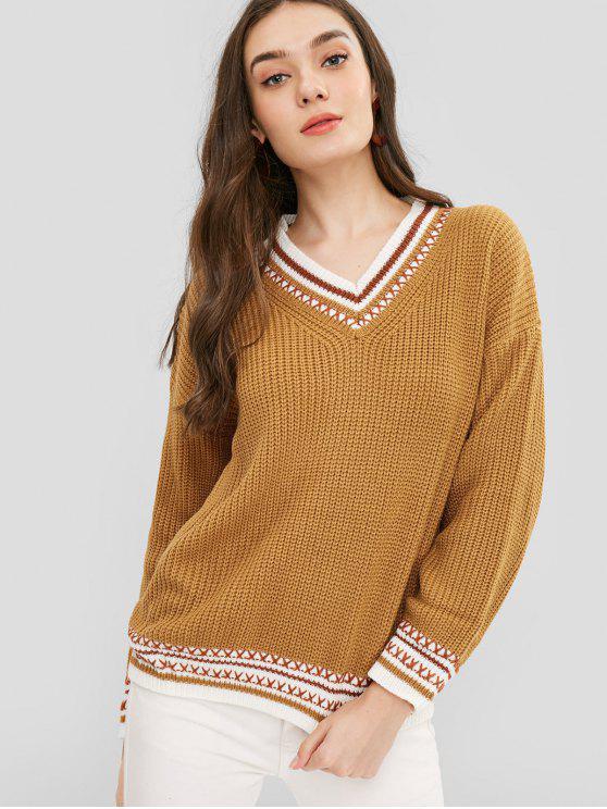 V-Ausschnitt Gestreifte Chunky Knit Sweater - Karamell Eine Größe