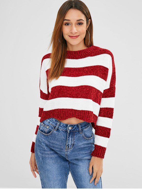Gestreifter Chenille Cropped Drop Shoulder Sweater - Roter Wein Eine Größe