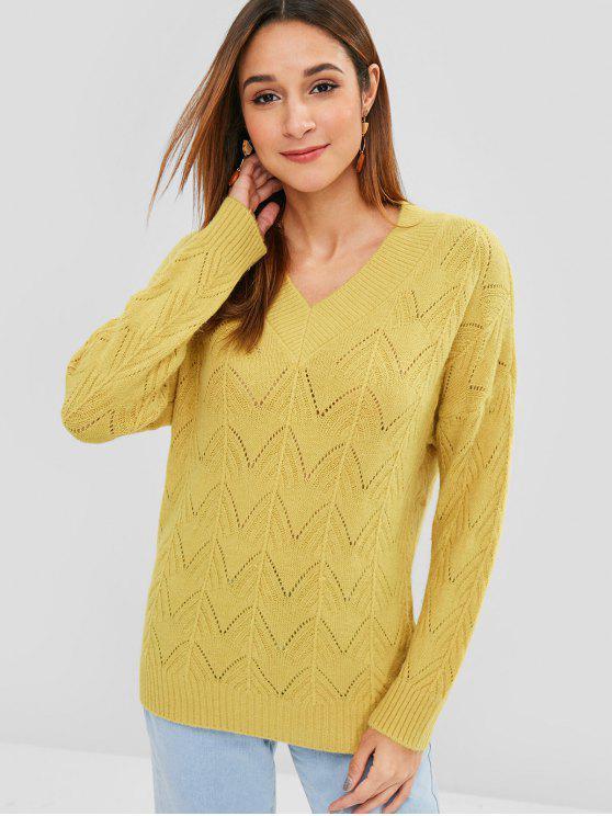 Pullover mit Zick-Zack-V-Ausschnitt - Goldrute Eine Größe