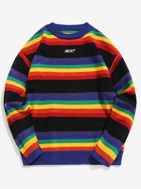 unique Rainbow Striped Letter Knit Sweater - BLACK L