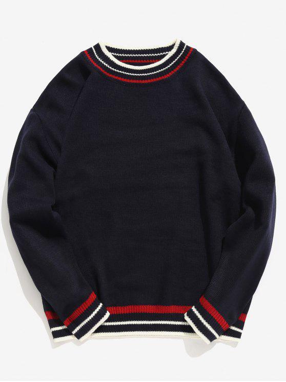 Edge Contrast Gestreifter Pullover - Kadettenblau S