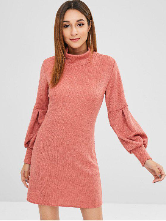 fashion Long Sleeves High Neck Mini Dress - PINK S