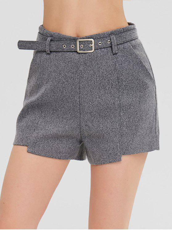 Shorts asimétricos con bolsillos - Gris M