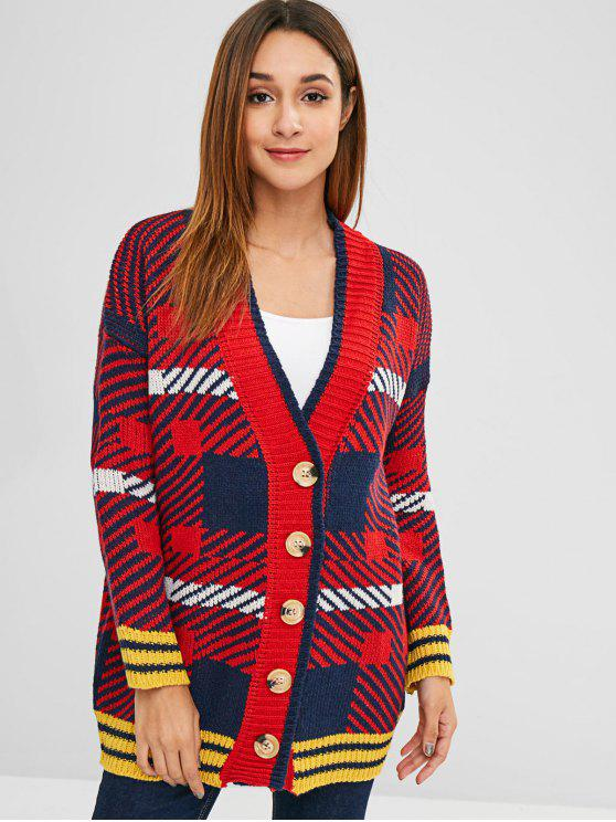 Button Up Plaid V Neck Cardigan - Multicolor Talla única