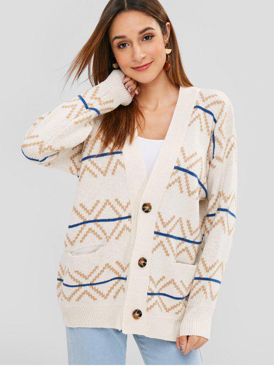 Cardigan Boutonné Géométrique avec Poches - Blanc Chaud Taille Unique