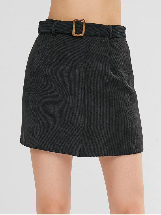 Mini Jupe Ceinturée avec Fente - Noir L