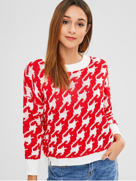 Side Slit Graphic High Low Sweater - Rojo Talla única