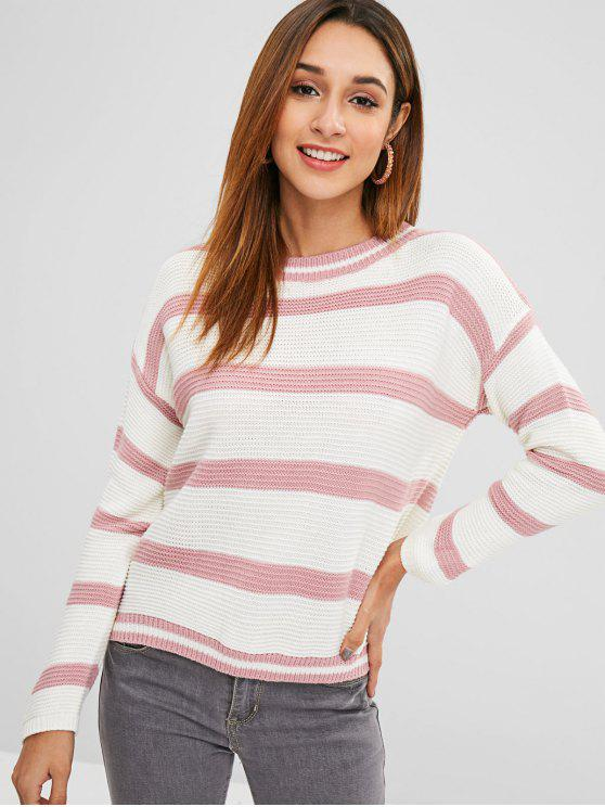 aa4d3f794 2019 Drop Shoulder Striped Loose Fit Sweater In LIPSTICK PINK ONE ...