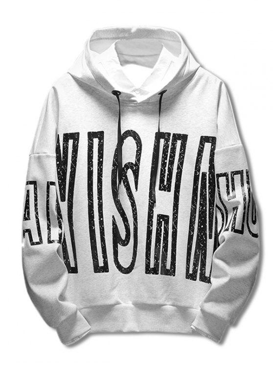 fancy Drop Shoulder Letter Print Hoodie - WHITE M