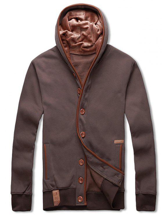latest Single Breasted Hooded Fleece Jacket - COFFEE M