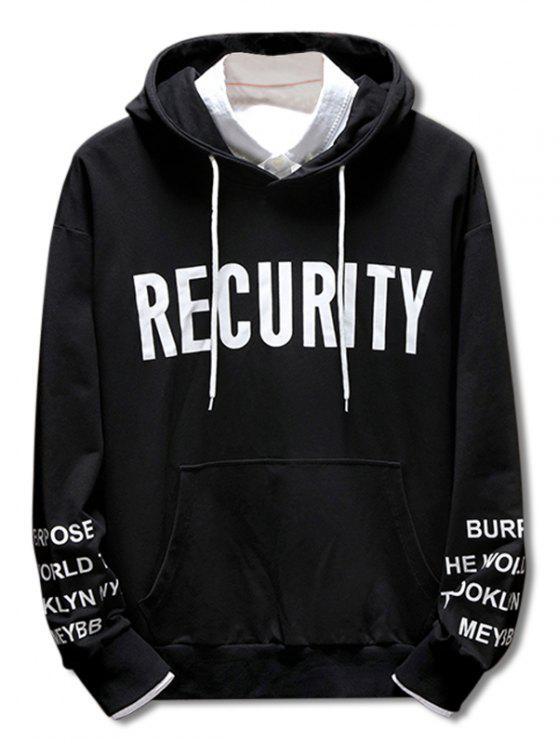 fashion Casual Drawstring Letter Print Hoodie - BLACK 3XL