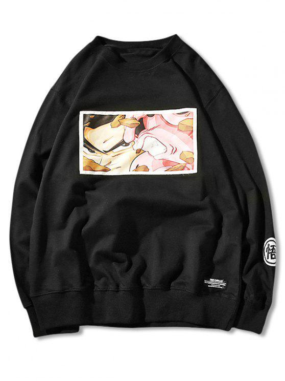 hot Embroidery Cartoon Print Sweatshirt - BLACK L