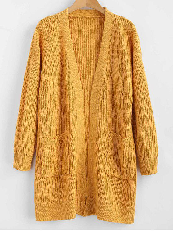 best ZAFUL Longline Pockets Open Front Cardigan - ORANGE GOLD ONE SIZE