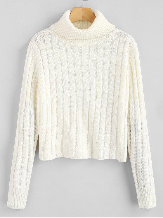 new ZAFUL Turtleneck Plain Sweater - WHITE ONE SIZE