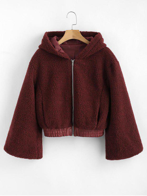 hot ZAFUL PU Leather Panel Fluffy Teddy Coat - RED WINE S