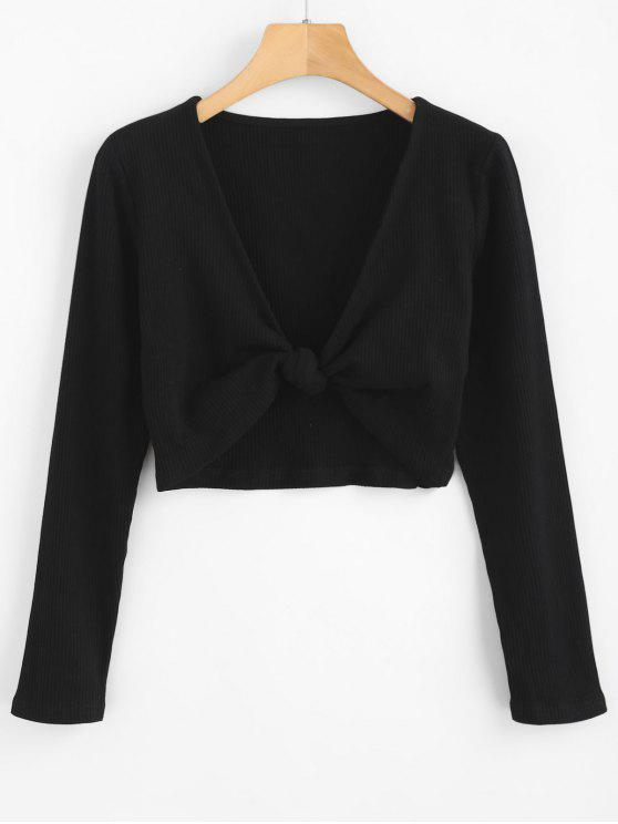 latest ZAFUL Cropped Knotted Top - BLACK L