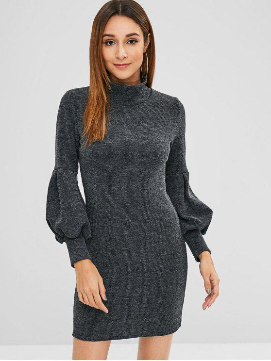 best Long Sleeves High Neck Mini Dress - BLACK M