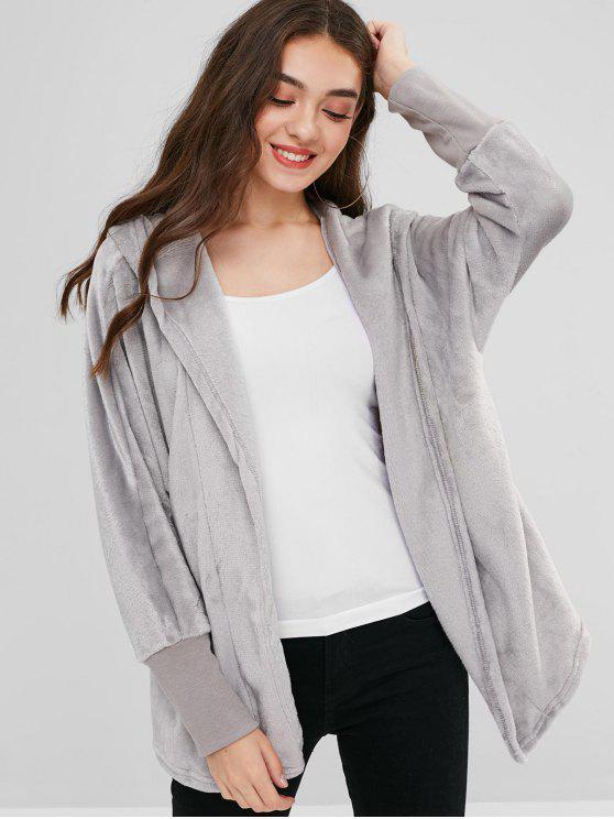 best Hooded Open Front Dolman Fleece Coat - GRAY M