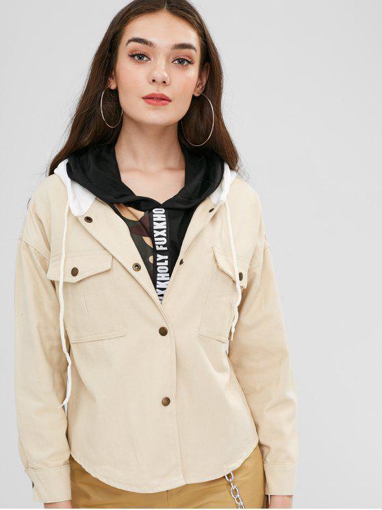 sale Hooded Drop Shoulder Pocket Jacket - BEIGE M