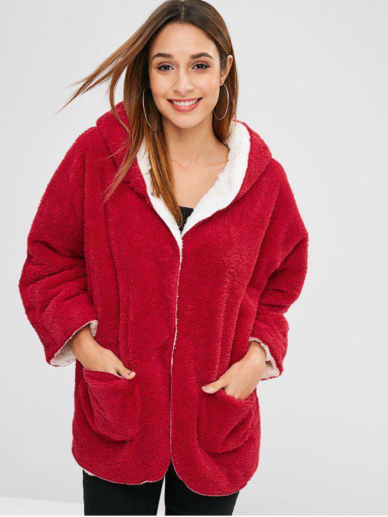 Manteau à Capuche avec Bouton Pression en Fausse Laine - Rouge XL