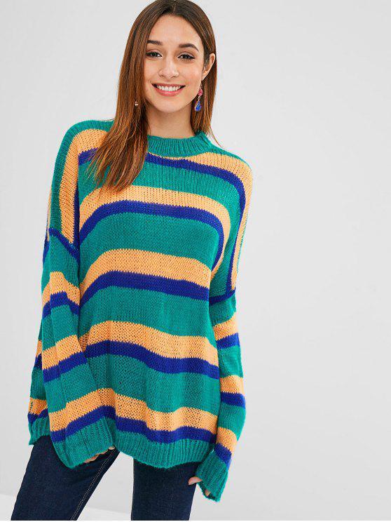 Drop Shoulder Übergroßer Farbblock Sweater - Helles Meergrün Eine Größe