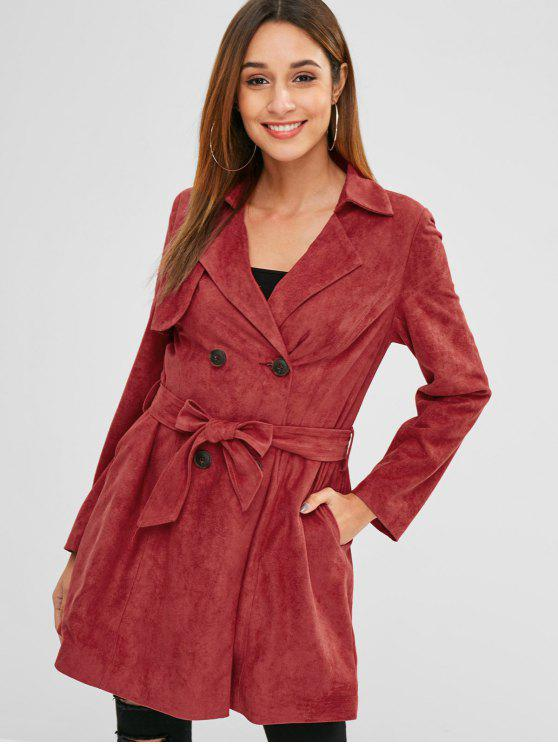 lady ZAFUL Double Breasted Faux Suede Trench Coat - CHERRY RED S