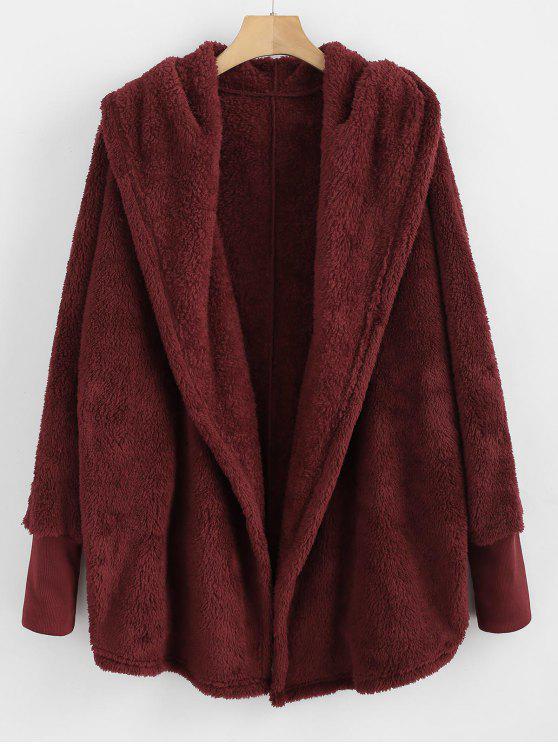 Cappotto Plus Size Con Cappuccio - Vino Rosso S
