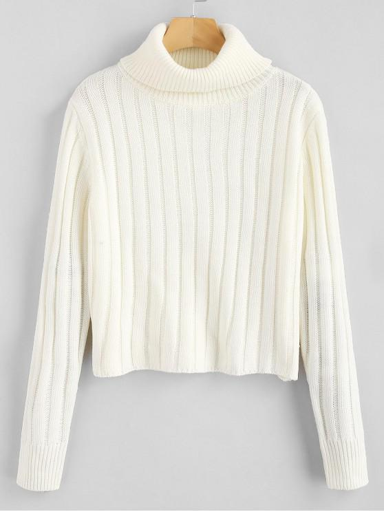new ZAFUL Turtleneck Plain Sweater - WHITE ONE SIZE
