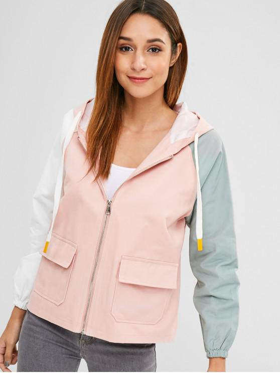 best Reglan Sleeve Hit Color Jacket - MULTI-B L