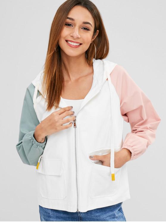 lady Reglan Sleeve Hit Color Jacket - MULTI-C L