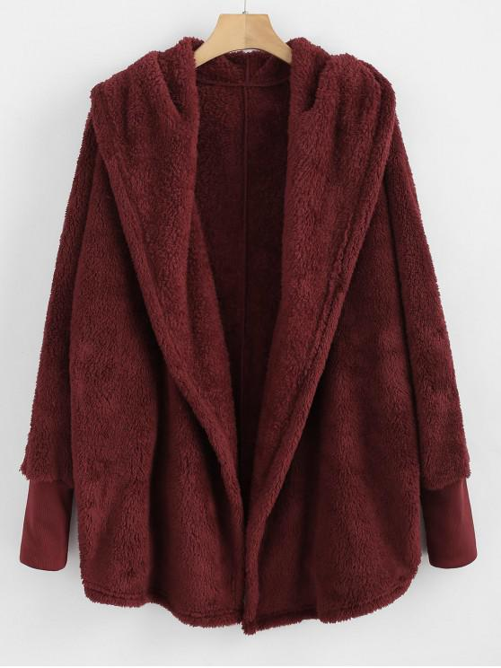 new Oversize Open Front Furry Coat - RED WINE S