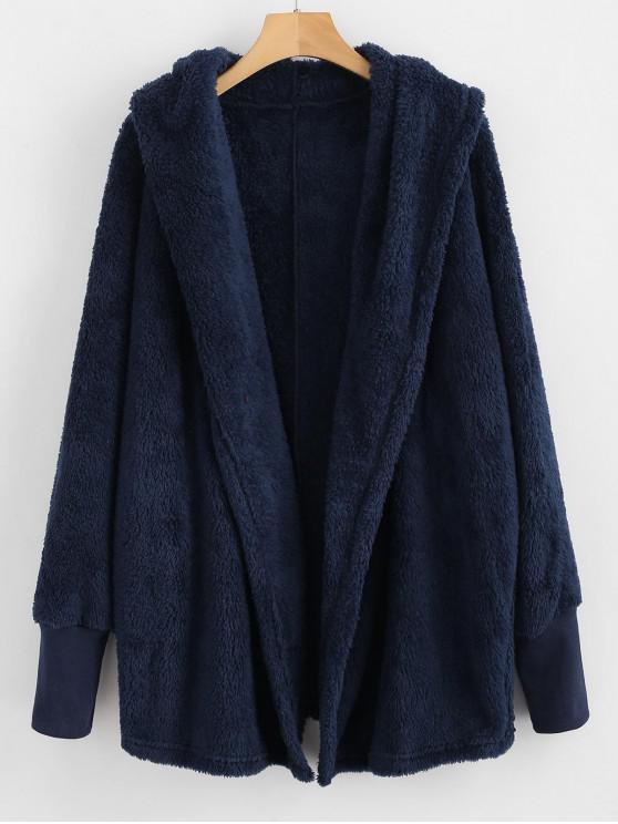 affordable Oversize Open Front Furry Coat - CADETBLUE XL