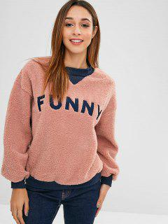 Fluffy Embroidered Faux Shearling Teddy Sweatshirt - Khaki Rose M