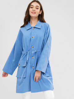 Manteau Trench Taille à Cordon - Bleu Bleuet S