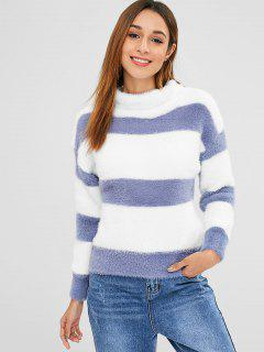 Wide Stripe Fluffy Turtleneck Sweater - Blue Gray