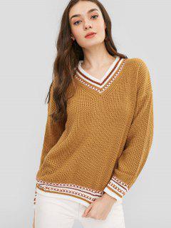V Neck Striped Chunky Knit Sweater - Caramel