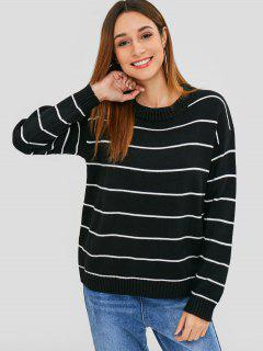Crew Neck Striped Loose Sweater - Black