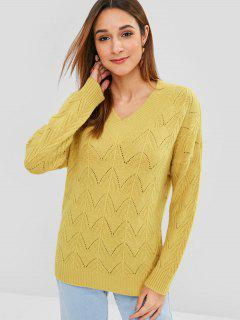 Chandail Pull-over Zigzag à Col V - Verge D'or