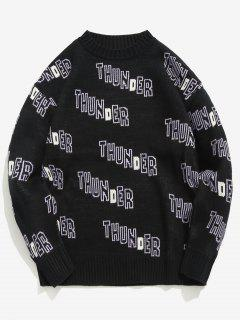 Crewneck Letter Pullover Knit Sweater - Black Xl