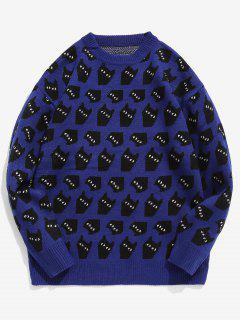 Cartoon Cats Crewneck Knit Sweater - Blue L