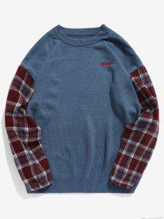 Sleeve Plaid Patchwork Knit Sweater - Blue L
