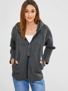 Zip Up Hooded Drawstring Coat - Dark Gray S