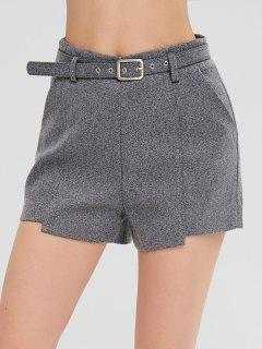 Asymmetric Shorts With Pockets - Gray Xl