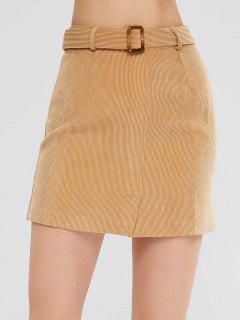 Mini Belt Skirt With Slit - Khaki M